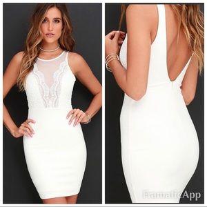 New lulu's white sheath lace mesh dress.